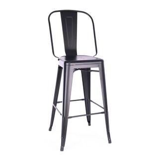 Amalfi Matte Black Steel High Back Bar Chair 30 Inch (Set of 4) - N/A
