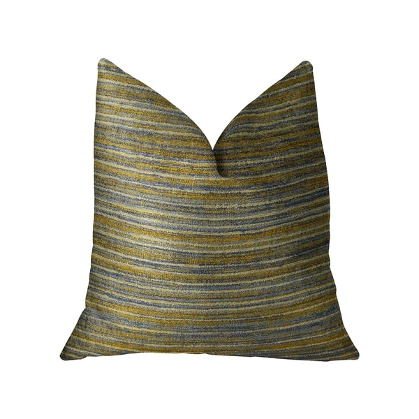 Plutus Vermont Blue and Taupe Handmade Decorative Throw Pillow
