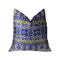 Plutus Splendid Aztec Blue and White Handmade Decorative Throw Pillow