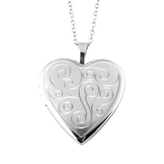 Swirls Heart Photo Locket Pendant, Sterling Silver Charm with Necklace Chain