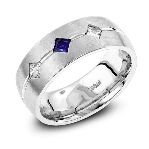 Unique Wedding Bands: Platinum Sapphire Diamond Wedding Ring for Men 0.2ctw G-H Color by Luxurman
