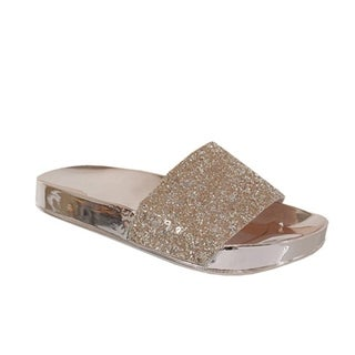 YOKI-RORA-03 Women's Glittery Slip on Sandals