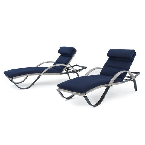 Cannes Set of 2 Chaise Lounges with Navy Blue Cushions by RST Brands