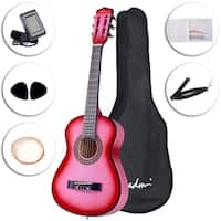 ADM Beginner Classical Guitar 30 Inch Buddle with Carrying Bag & Accessories, Pink