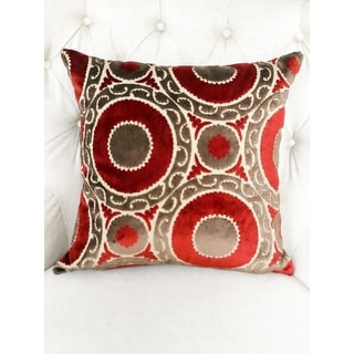 Plutus Madeline Red and Brown Handmade Decorative Throw Pillow