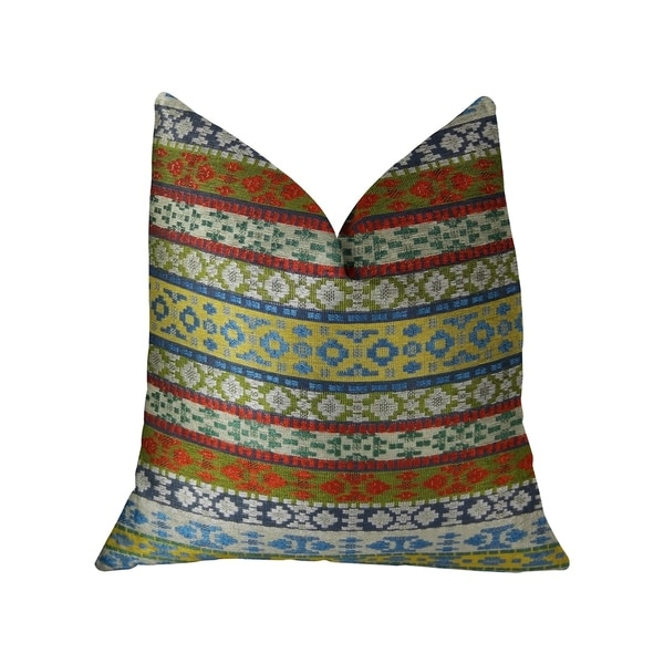 Plutus Flower Child White Blue and Red Handmade Decorative Throw Pillow