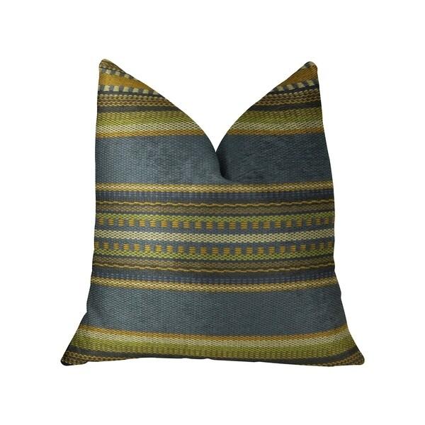 Plutus South Shore Dark Blue Olive Green and Cream Handmade Decorative Throw Pillow