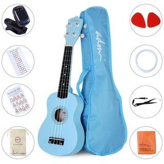 """ADM 21"""" Economic Soprano Ukulele Start Pack with Gig bag, Tuner, Blue"""