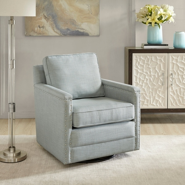 Shop Madison Park Lotte Blue Swivel Glider Chair On Sale