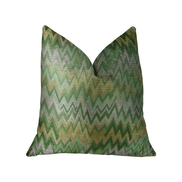 Plutus Green Fair Green Citrine and Taupe Handmade Luxury Pillow