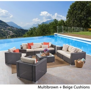 Santa Rosa Outdoor 7 Seater Wicker Sofa Chat Set By Christopher Knight Home