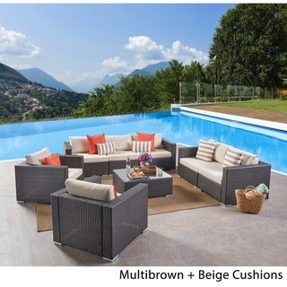Link to Santa Rosa Outdoor 7 Seater Wicker Sofa Chat Set by Christopher Knight Home Similar Items in Outdoor Arm Chairs