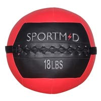 18 lbs Soft Medicine Ball Wall Ball for CrossFit Exercises Strength Training Cardio Workouts Muscle Building Balance, Red