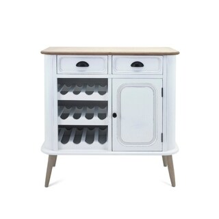 Exquisitly Perfect Wine Cabinet With 2 Drawers, 1 Door, 3 Wine Shelves, White