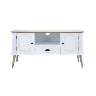 Stylized Media Stand With 2 Doors, 1 Drawer, 1 Open Shelve, White