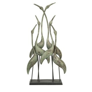 Symmetrically Patterned Distressed Bird Sculpture In Iron, Light Green
