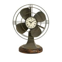 Quirky Vintage Metal Fan Clock With Wooden Stand, Olive