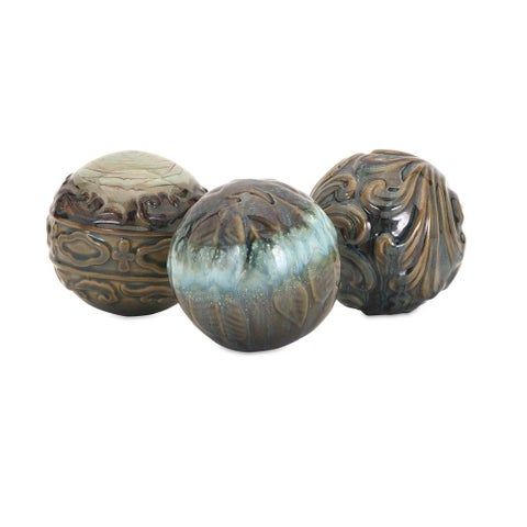 Creatively Embossed Ceramic Spheres In Earthy Hued Multicolour, (Set of 3)
