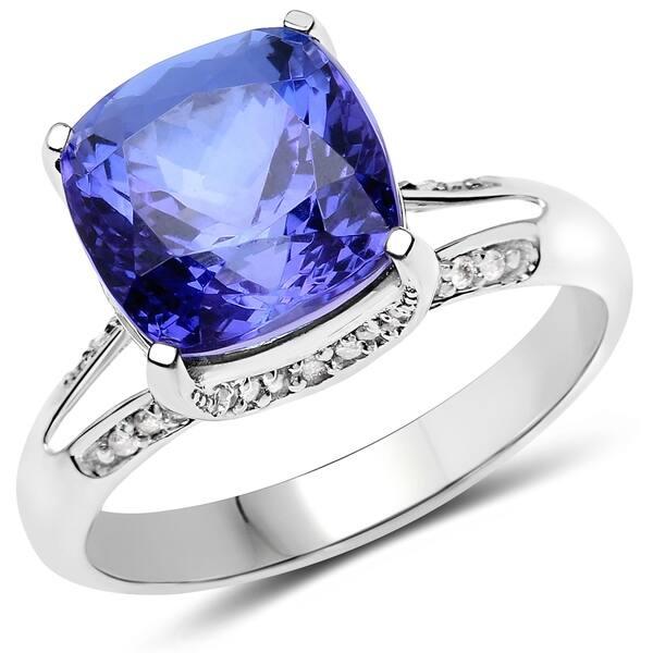 baae645c10c8f9 Olivia Leone 14K White Gold 5.77 Carat Genuine Tanzanite and White Diamond  Ring ...