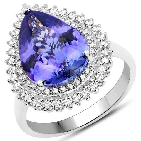 Olivia Leone 14K White Gold 5.83 Carat Genuine Tanzanite and White Diamond Ring