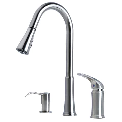 "Laguna Brass Contemporary 16"" Single Handle Pull-Down Kitchen Faucet With Soap Dispenser"