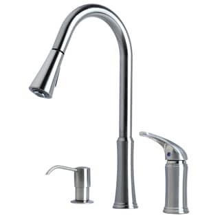 """Link to Laguna Brass Contemporary 16"""" Single Handle Pull-Down Kitchen Faucet With Soap Dispenser Similar Items in Faucets"""