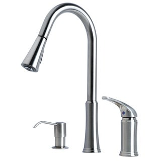 """Laguna Brass Contemporary 16"""" Single Handle Pull-Down Kitchen Faucet With Soap Dispenser"""