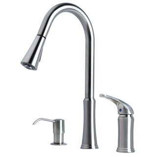 """Contemporary 16"""" Single Handle Pull-Down Kitchen Faucet With Soap Dispenser"""