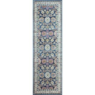 "Giorgio Navy Transitional Area Rug - 2'6"" x 8'"