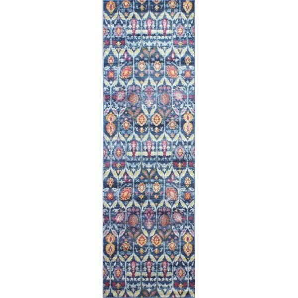 "Guy Navy Transitional Area Rug - 2'6"" x 8' Runner"
