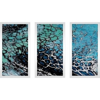 """""""Blue Coral """" Framed Acrylic Wall Art Set of 3"""