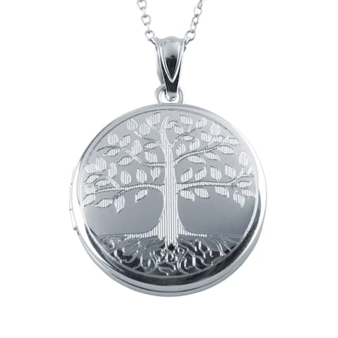 34d0e1ca1c9 Tree of Life Locket Pendant, Sterling Silver Photo Charm with Necklace  Chain - silver /