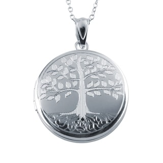 Tree Of Life Locket Pendant Sterling Silver Photo Charm With Necklace Chain Silver 20mm