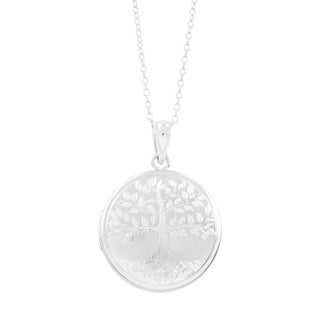 Tree of Life Locket Pendant, Sterling Silver Photo Charm with Necklace Chain - silver / 20mm