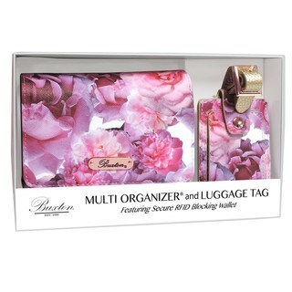 Brilliant Large Floral Multi Organizer Wallet and RFID Luggage Tag