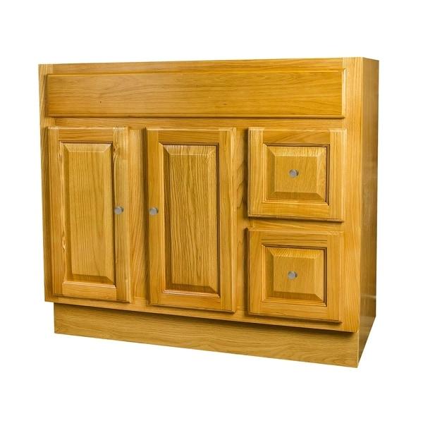 Raised Panel Oak Bathroom Vanity 36x18 - On Sale ...