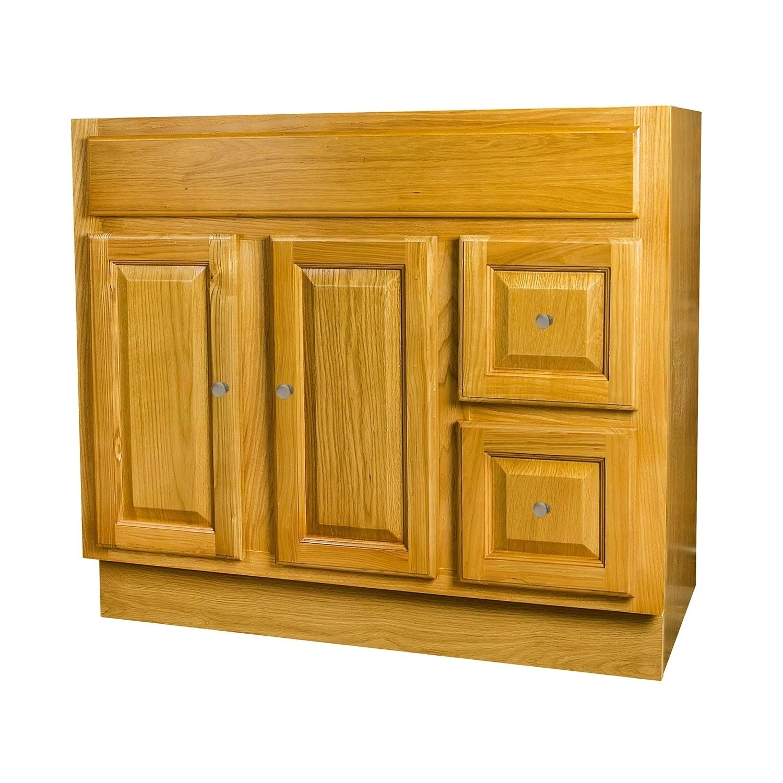 Raised Panel Oak Bathroom Vanity 36x18