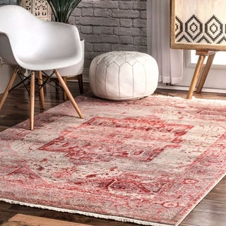 nuLOOM Red Traditional Fancy Medallion Border Area Rug - 4' x 6'