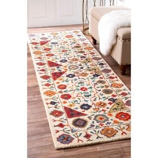 "nuLOOM Multi Handmade Wool Country Floral Border Runner Area Rug - 2'6"" x 10' runner"