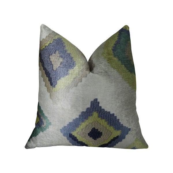 Plutus White Navy and Lime Handmade Decorative Throw Pillow