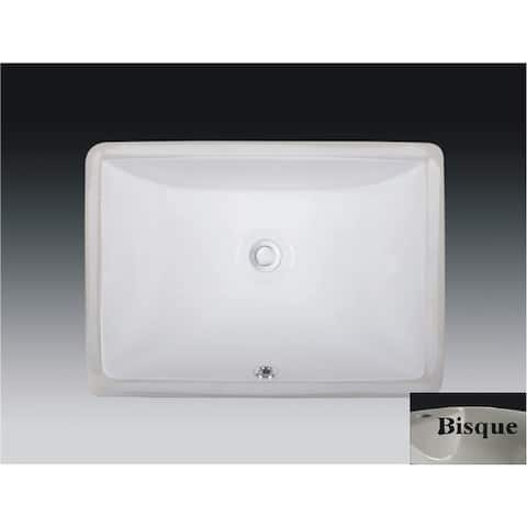Wells Rectangular Vitreous Ceramic Lavatory Single Bowl Undermount Bisque 20 x 15 x 6