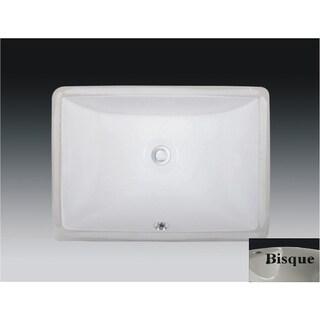 Wells Rectangular Vitreous Ceramic Lavatory Single Bowl Undermount Bisque 20 x 15 x 6