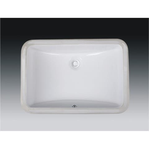 Wells Rectangular Vitreous Ceramic Lavatory Single Bowl Undermount White 21 x 15 x 7