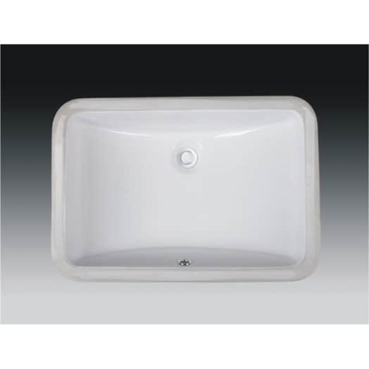 Wells Rectangular Vitreous Ceramic Lavatory Single Bowl Undermount White 21 x 15 x 7