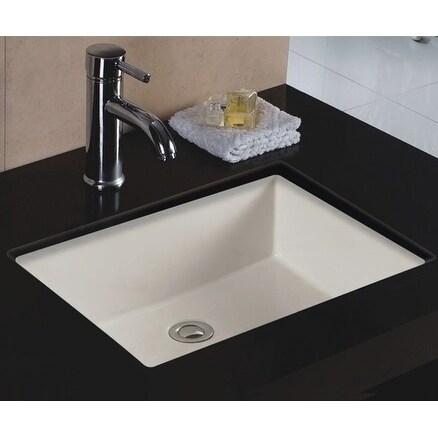 Wells Rectangular Vitreous Ceramic Lavatory Single Bowl Undermount Bisque 20 x 16 x 6
