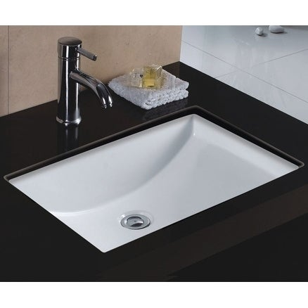 Wells Rectangular Vitreous Ceramic Lavatory Single Bowl Undermount White 22 x 16 x 6
