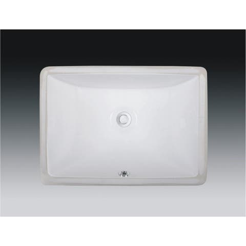 Wells Rectangular Vitreous Ceramic Lavatory Single Bowl Undermount White 20 x 15 x 6