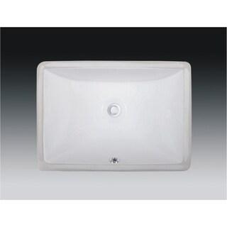 Wells Rectangular Vitreous Ceramic Lavatory Single Bowl Undermount White 20 x 15 x 6