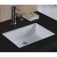 Wells Rectangular Vitreous Ceramic Lavatory Single Bowl Undermount White 20 x 16 x 6