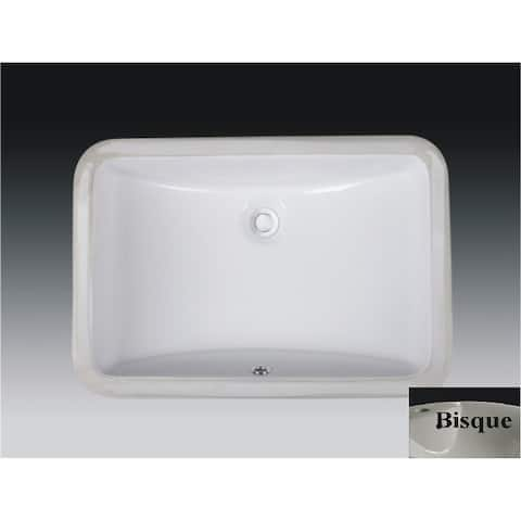 Wells Rectangular Vitreous Ceramic Lavatory Single Bowl Undermount Bisque 21 x 15 x 7